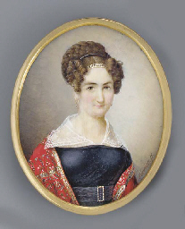 A young lady, facing right in