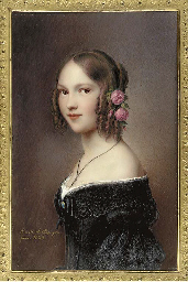A young lady, facing left in o