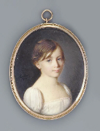 A young girl, facing right in
