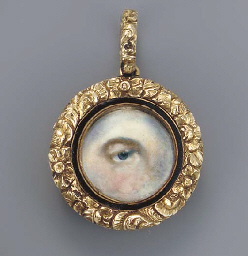 A left eye with blue iris and