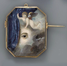 A putto flying amongst the clo