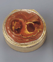 A gold and pink agate vinaigre