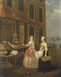 A lady and her maid at a fishm