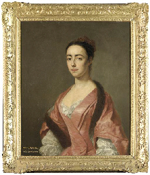 Portrait of Eleanor Savage, half-length, in a white chemise and a pink silk dress with a fur stole and ochre cap