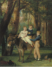 Group Portrait of John, Theophilus and Frances Levett, full-length, the younger two seated on a donkey, in a wooded landscape
