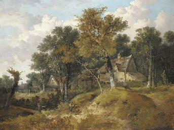 A wooded landscape with cottag