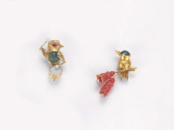 TWO GEM-SET BIRD BROOCHES, BY