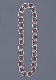 A DIAMOND AND RUBY NECKLACE