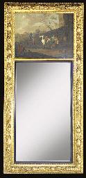A giltwood trumeau mirror, 19t