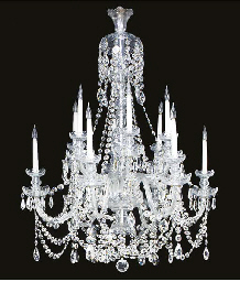 A cut glass twelve light chand