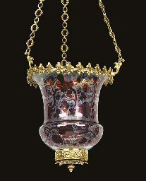 A gilt metal and ruby flashed