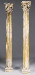 A pair of English fluted pine