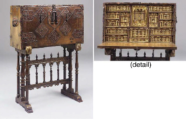 A Spanish walnut and decorated