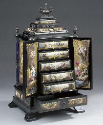 A Viennese enamelled and eboni