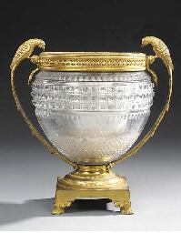 A Victorian cut glass and gilt