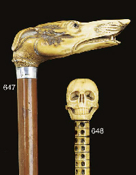 An English carved antler and m