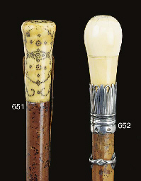 An English malacca and ivory w