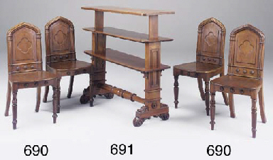 A SET OF FOUR VICTORIAN OAK HA