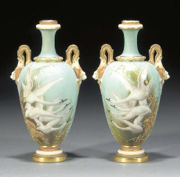 A pair of Royal Worcester duck
