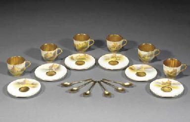 Six Royal Worcester demi-tasse