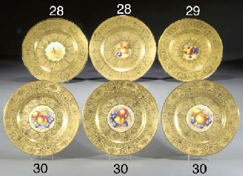 Two Royal Worcester gold-groun