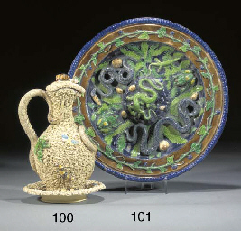 A Portugese Palissy-style ewer