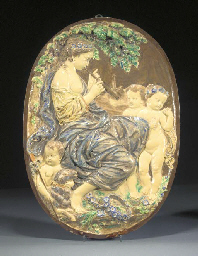 A large pottery relief-moulded
