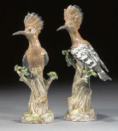 A pair of Meissen models of ho