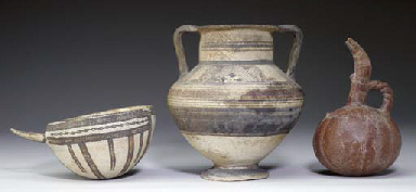 THREE CYPRIOT POTTERY VESSELS