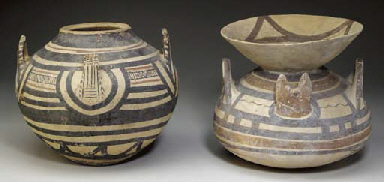 TWO DAUNIAN POTTERY FUNNEL-KRA