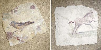 TWO ROMAN WALL-PAINTING FRAGME