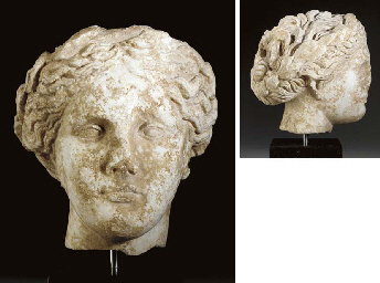 A ROMAN MARBLE HEAD OF DAPHNE