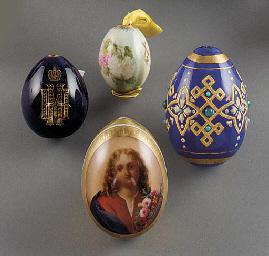 three porcelain easter eggs an