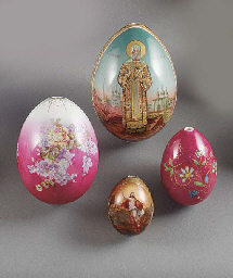 four porcelain easter eggs