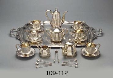 A parcel-gilt silver tea servi