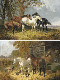 Horses sheltering under trees