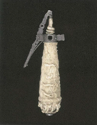A FINE GERMAN IVORY POWDER-FLA