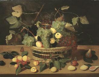 Un panier de raisins et d'abri