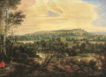 Paysage boisé avec Saint Huber