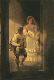 Un couple descendant l'escalie