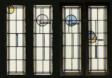 FOUR LEADED GLASS WINDOWS