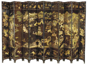 A CHINESE BLACK-LACQUER COROMA