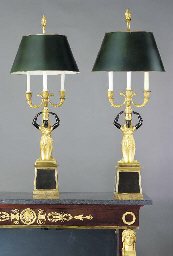 A PAIR OF EMPIRE STYLE PATINAT