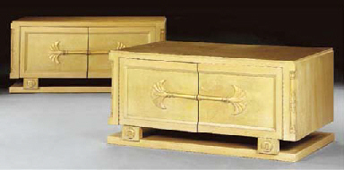 A PAIR OF PICKLED FRUITWOOD AN