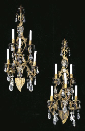 A PAIR OF GILT-METAL, ROCK CRY