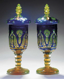A pair of Bohemian blue and am