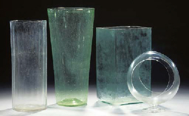 Six various glass vases
