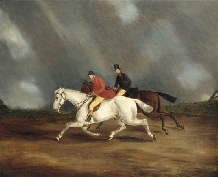 Figures riding in a storm