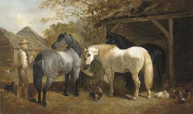 A farmhand, horses, chickens a