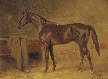 A chestnut racehorse in a stab